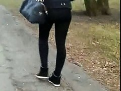 Candid #198 Girl with sexy ass in black leggings