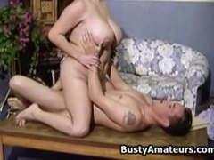 Busty Helena getting rammed by two guys