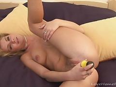Banana toy for a cute blonde beauty