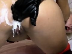 Whipped cream in Ass Farting girl Anal masturbation