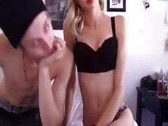 Slender beauty bonks with boyfriend on web camera