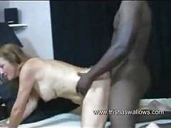 amateurs trisha swallows with african boyfriend toy