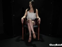 Huge clit with massive pussy lips sucking dicks in a gloryhole