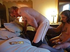 doggy fucking my husbands ass with my strap on