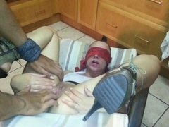 Blindfolded sub pisses in own face and get it rough