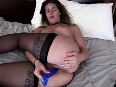 Real MILF Stripper Cums for Blue Dildo and Shakes Her Ass