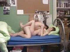 College couple make love to creampie finish