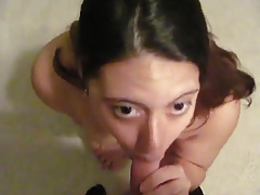she gets a facial from his pathetic cock