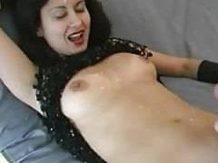 Isoldes face and body take a Cum bath