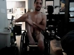 Sexy hot guy in a wheelchair gets naked for girlfriend on Skype