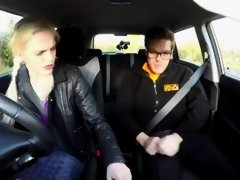 Fake Driving School Instructor has horny car fuck with busty blonde MILF
