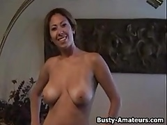Busty amateur Lili playing her pussy after interview
